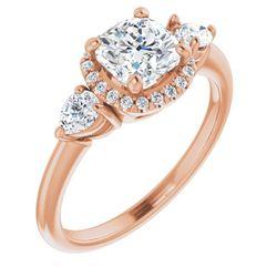 14K Rose 6 mm Cushion 1/3 CTW Diamond Semi-Set Engagement Ring