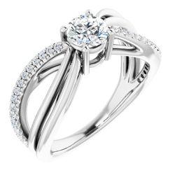 14K White 5.2 mm Round 1/5 CTW Diamond Semi-Set Engagement Ring
