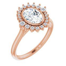 14K Rose 8x6 mm Oval 1/5 CTW Diamond Semi-Set Halo-Style Engagement Ring