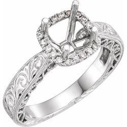 14K White 6.5 mm Round 1/6 CTW Diamond Semi-Set Engagement Ring