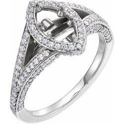 14K White 8.5x4.5 mm Marquise 3/4 CTW Diamond Semi-Set Engagement Ring