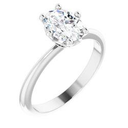 Platinum 8x6 mm Oval .04 CTW Diamond Semi-Set Engagement Ring