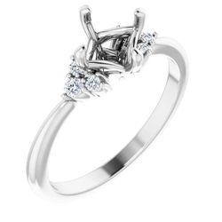 Platinum 6x6 mm Cushion 1/10 CTW Diamond Semi-Set Engagement Ring