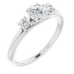 14K White 4.8 mm Round 1/5 CTW Diamond Semi-Set Engagement Ring