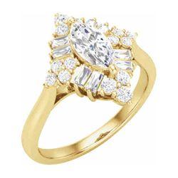 14K Yellow 8x4 mm Marquise 1/2 CTW Diamond Semi-Set Engagement Ring