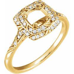 14K Yellow 5.8 mm Round 1/5 CTW Diamond Semi-set Engagement Ring