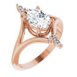 14K Rose 8x6 mm Oval 1/10 CTW Diamond Semi-Set Engagement Ring