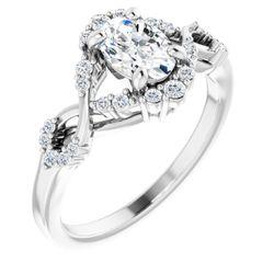 Platinum 7x5 mm Oval 1/6 CTW Diamond Semi-Set Engagement Ring