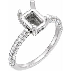 14K White 1/2 CTW Diamond Semi-Set Engagement Ring