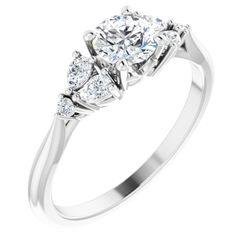 Platinum 5.2 mm Round 1/5 CTW Diamond Semi-Set Accented Engagement Ring