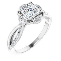 14K White 6 mm Cushion 1/6 CTW Diamond Semi-Set Engagement Ring