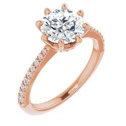 14K Rose 8 mm Round 1/6 CTW Diamond Semi-Set French-Set Engagement Ring