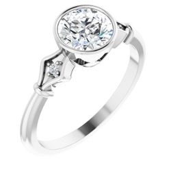 14K White 6.5 mm Round .025 CTW Diamond Semi-Set Engagement Ring