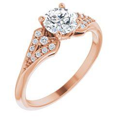 14K Rose 5.8 mm Round 1/10 CTW Diamond Semi-Set Engagement Ring