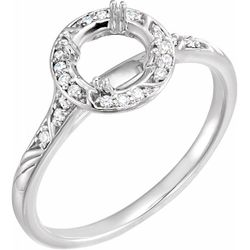 14K White 6.5 mm Round .08 CTW Diamond Semi-Set Sculptural-Inspired Engagement Ring
