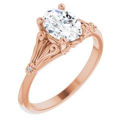 14K Rose 8x6 mm Oval .0075 CTW Diamond Semi-Set Engagement Ring