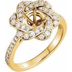 14K Yellow 6.5 mm Round 1/2 CTW Diamond Semi-Set Halo-Style Engagement Ring