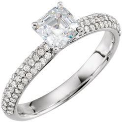 14K White 5.4 mm Asscher 1/3 CTW Diamond Semi-Set Engagement Ring