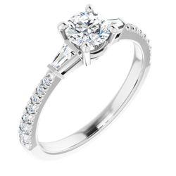 Platinum 5.2 mm Round 1/4 CTW Diamond Semi-Set French-Set Engagement Ring