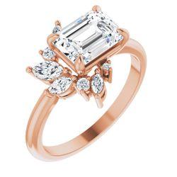 14K Rose 8x6 mm Emerald 1/3 CTW Diamond Semi-Set Engagement Ring