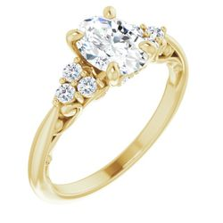 14K Yellow 8x6 mm Oval 1/5 CTW Diamond Semi-Set Engagement Ring