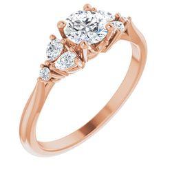14K Rose 5.2 mm Round 1/5 CTW Diamond Semi-Set Accented Engagement Ring