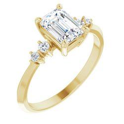 14K Yellow 7x5 mm Emerald 1/10 CTW Diamond Semi-Set Engagement Ring