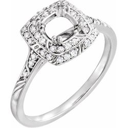 14K White 5 mm Square 1/6 CTW Diamond Semi-Set Sculptural-Inspired Engagement Ring