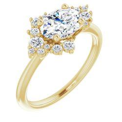 14K Yellow 8x6 mm Oval 1/4 CTW Diamond Semi-Set Engagement Ring