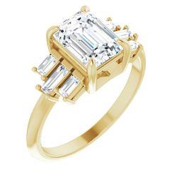 14K Yellow 8x6 mm Emerald 3/8 CTW Diamond Semi-Set Engagement Ring