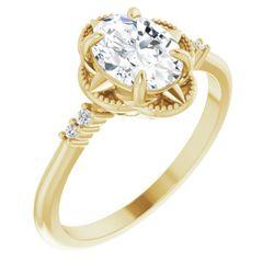 14K Yellow 8x6 mm Oval .03 CTW Diamond Semi-Set Engagement Ring