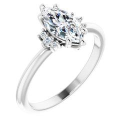 Platinum 10x5 mm Marquise .05 CTW Diamond Semi-Set Engagement Ring