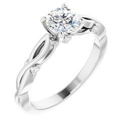 14K White 5.8 mm Round .05 CTW Diamond Semi-Set Engagement Ring