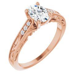 14K Rose 7x5 mm Oval .05 CTW Diamond Semi-Set Engagement Ring