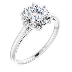 14K White 6x6 mm Cushion .07 CTW Diamond Semi-Set Engagement Ring