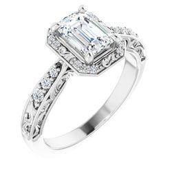 14K White 7x5 mm Emerald 1/6 CTW Diamond Semi-Set Engagement Ring