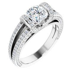 14K White 6x6 mm Cushion 3/4 CTW Diamond Semi-Set Engagement Ring