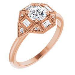 14K Rose 5.2 mm Round 1/6 CTW Diamond Semi-Set Engagement Ring
