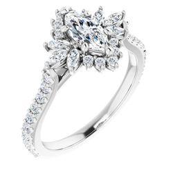 14K White 8x4 mm Marquise 1/2 CTW Diamond Semi-Set Halo-Style Engagement Ring