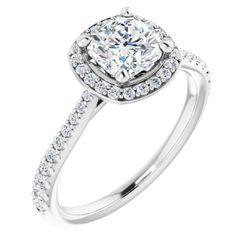 14K White 6x6 mm Cushion 1/3 CTW Diamond Semi-Set Engagement Ring