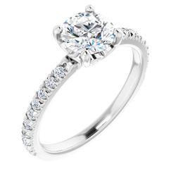 Platinum 6.5 mm Round 1/4 CTW Diamond Semi-Set Engagement Ring