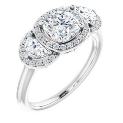 14K White 6x6 mm Cushion 3/8 CTW Diamond Semi-Set Engagement Ring