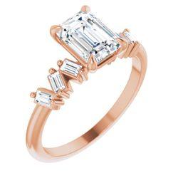 14K Rose 7.5x5.5 mm Emerald 1/4 CTW Diamond Semi-Set Claw-Prong Engagement Ring