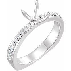14K White 5.5 x 5.5 mm Square 1/4 CTW Diamond Semi-Set Engagement Ring