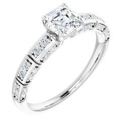 Platinum 5x5 mm Asscher 1/4 CTW Diamond Semi-Set Engagement Ring