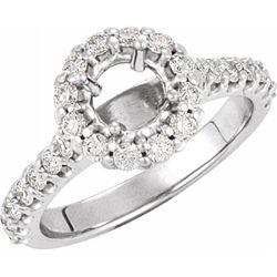14K White 5.8 mm Round 3/4 CTW Diamond Semi-Set Engagement Ring