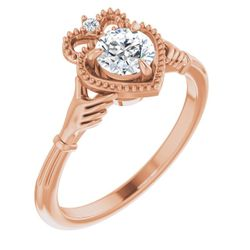 14K Rose 5.2 mm Round .015 CTW Diamond Semi-Set Claddagh Claw Prong Engagement Ring