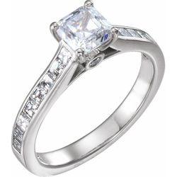 14K White 5.4 mm Asscher 7/8 CTW Diamond Semi-Set Engagement Ring