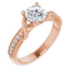 14K Rose 5.2 mm Round 1/10 CTW Diamond Semi-Set Engagement Ring