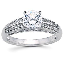 14K White 6.5 mm Round 1/3 CTW Diamond Semi-Set Engagement Ring